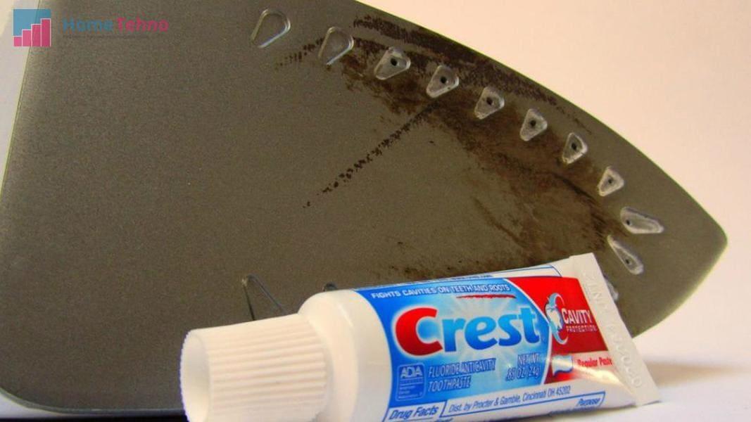 как почистить утюг от нагара зубной пастой