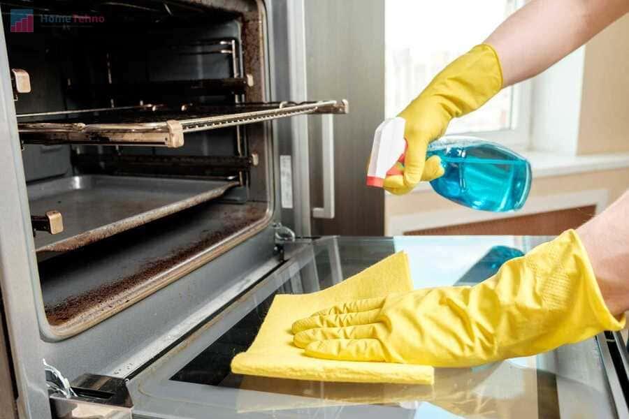 как почистить стекло в духовом шкафу
